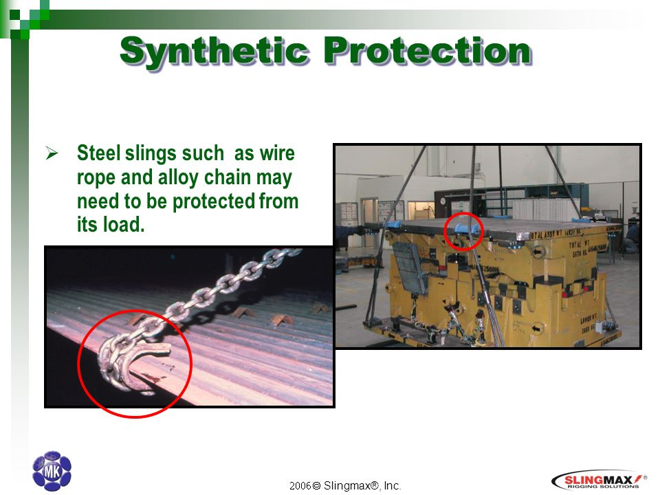Slingmax®, Inc..  Failure of any synthetic sling from cutting is ...