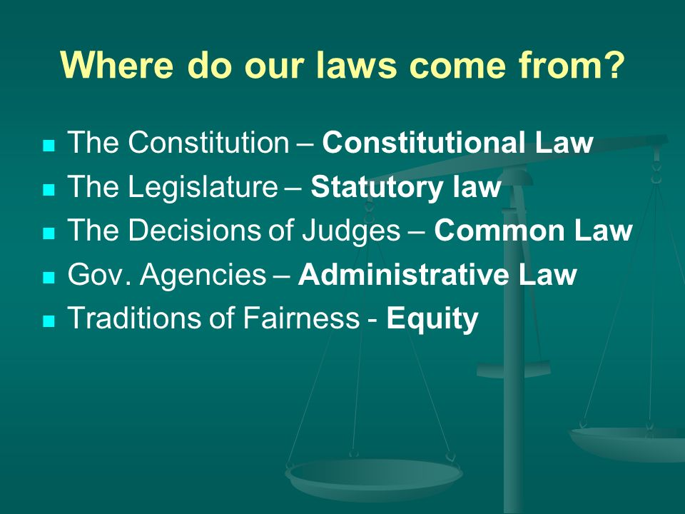 Where do our laws come from.