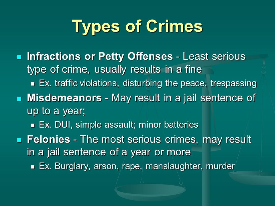 Types of Crimes Infractions or Petty Offenses - Least serious type of crime, usually results in a fine Infractions or Petty Offenses - Least serious type of crime, usually results in a fine Ex.