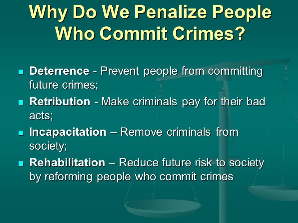 Why Do We Penalize People Who Commit Crimes.