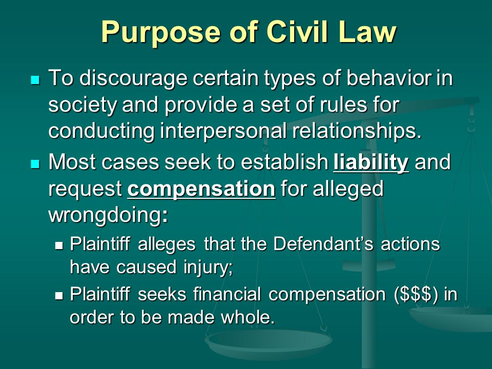 Purpose of Civil Law To discourage certain types of behavior in society and provide a set of rules for conducting interpersonal relationships.