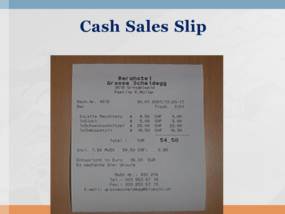 17 Cash Sales Slip  Cash Sales Slip