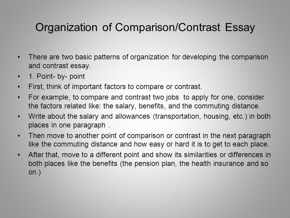 power writing technique you are going to your spring break you ve  organization of comparison contrast essay there are two basic patterns of organization for developing the