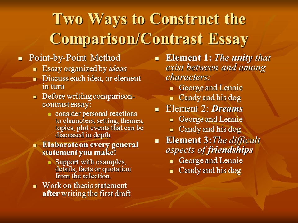 writing a comparison contrast essay discussing similarities  two ways to construct the comparison contrast essay point by point method point