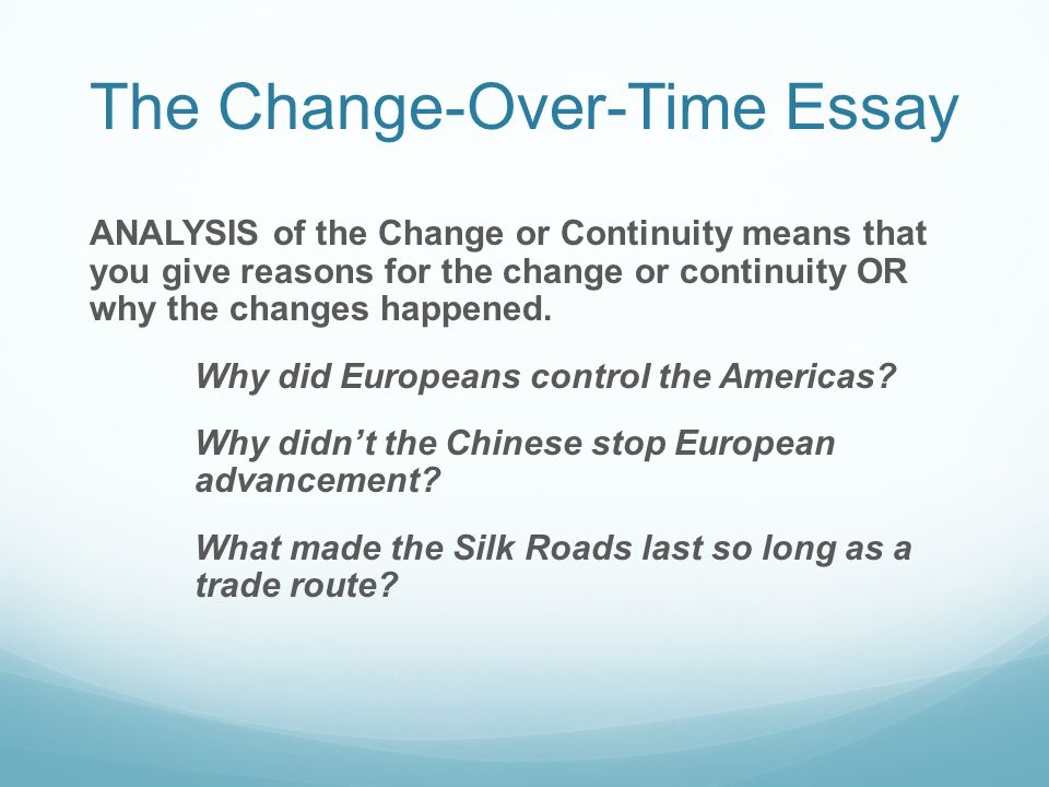 japan change over time essay How to write a ccot essay the continuity and change-over-time (ccot) essay is a type that is commonly used on the ap world history exam steps.