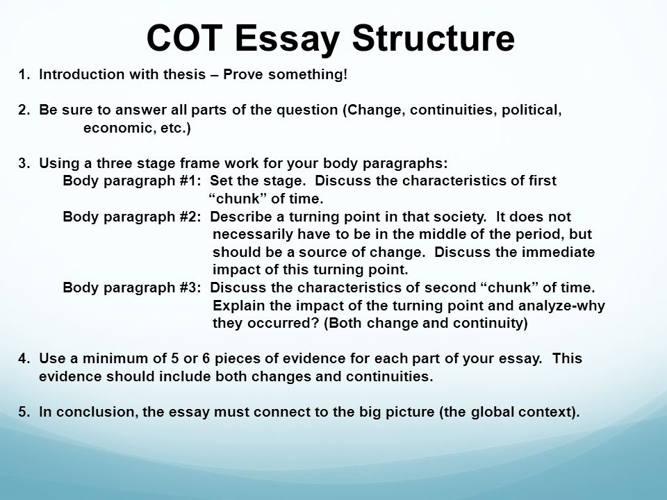 essay structuring ccot essays ap