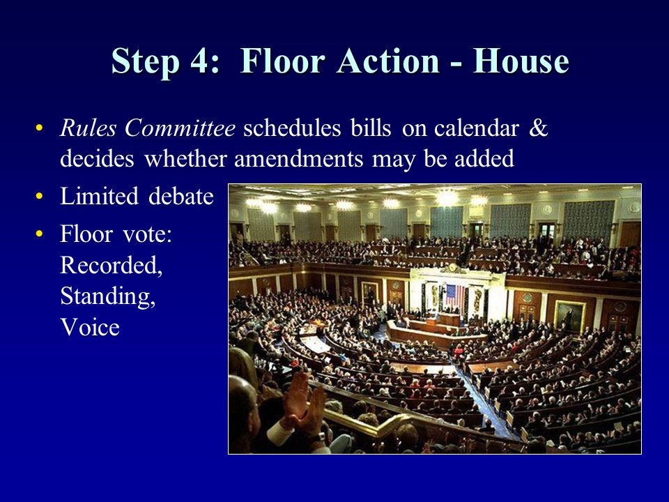 Step 4: Floor Action - House Rules Committee schedules bills on calendar & decides whether amendments may be added Limited debate Floor vote: Recorded, Standing, Voice