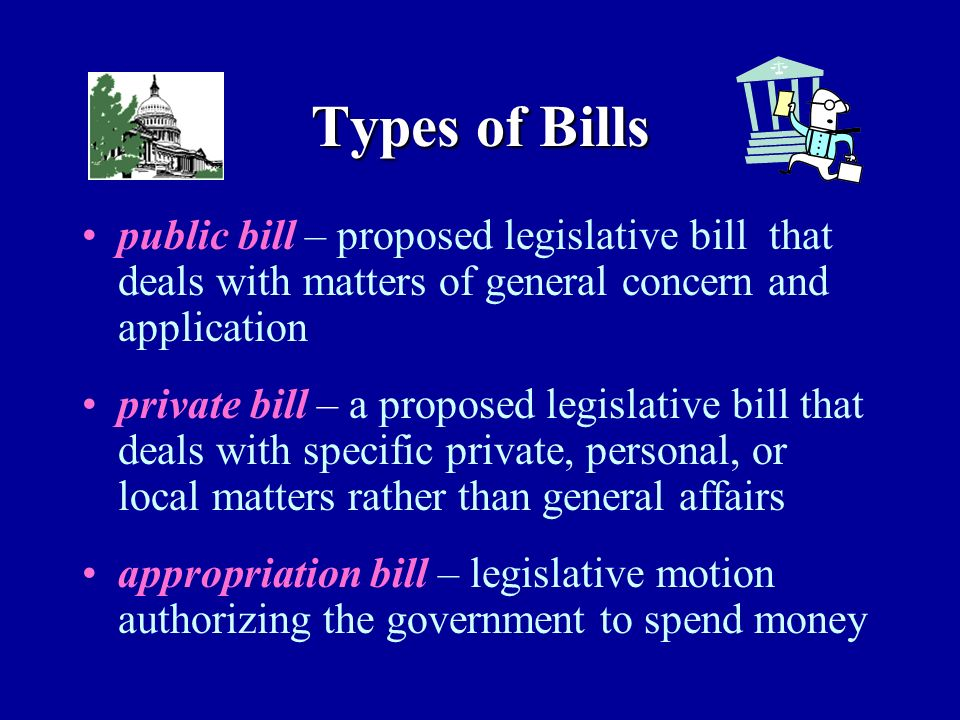 Types of Bills public bill – proposed legislative bill that deals with matters of general concern and application private bill – a proposed legislative bill that deals with specific private, personal, or local matters rather than general affairs appropriation bill – legislative motion authorizing the government to spend money