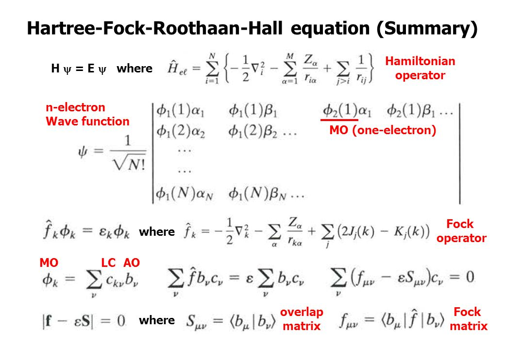 23 Hartree-Fock-Roothaan-Hall equation (Summary) where MO (one-electron) MOAO H  = E  where n-electron Wave function Fock operator Hamiltonian operator ...
