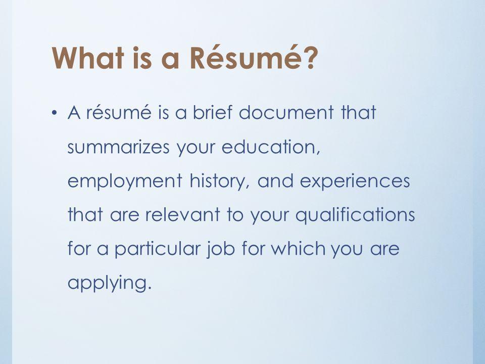 résumé c v 3 rd lecture what is a résumé a résumé is a brief