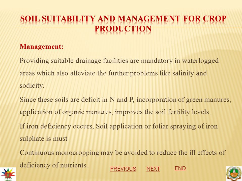 Management: Providing suitable drainage facilities are mandatory in waterlogged areas which also alleviate the further problems like salinity and sodicity.