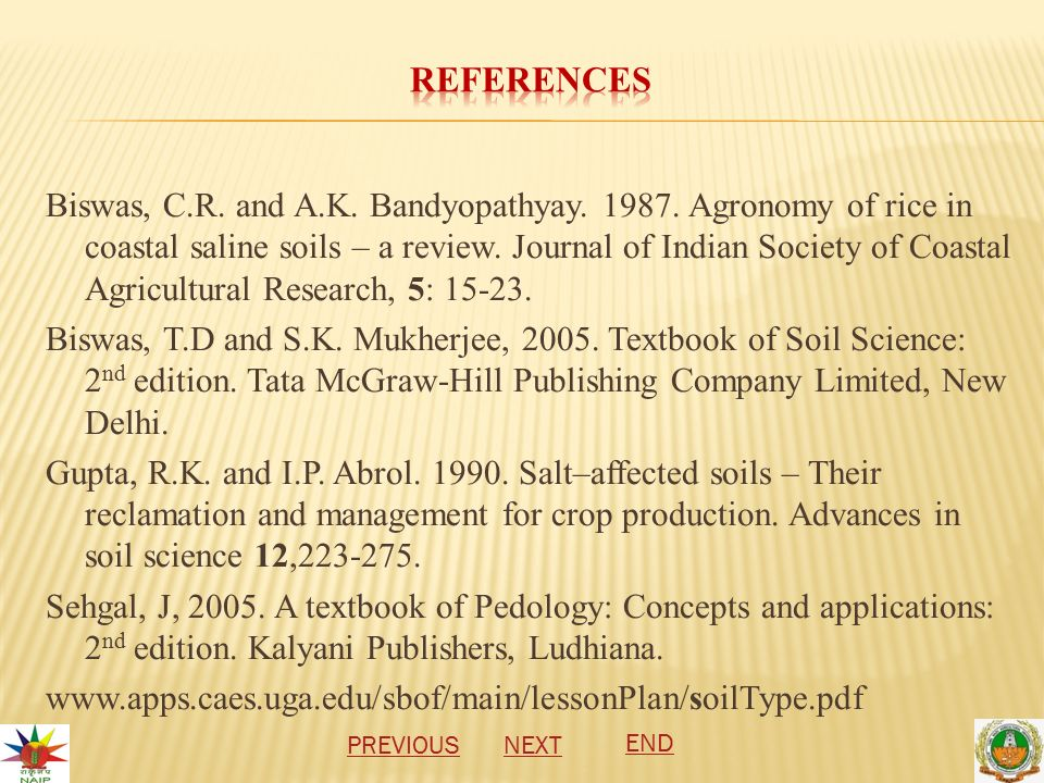Biswas, C.R. and A.K. Bandyopathyay. 1987. Agronomy of rice in coastal saline soils – a review.