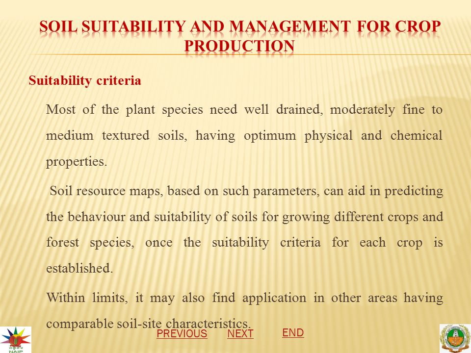 Suitability criteria Most of the plant species need well drained, moderately fine to medium textured soils, having optimum physical and chemical properties.