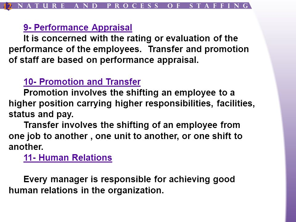 9- Performance Appraisal It is concerned with the rating or evaluation of the performance of the employees.