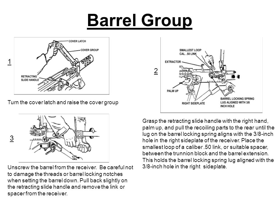 Barrel Group Turn the cover latch and raise the cover group Grasp the retracting slide handle with the right hand, palm up, and pull the recoiling parts to the rear until the lug on the barrel locking spring aligns with the 3/8-inch hole in the right sideplate of the receiver.