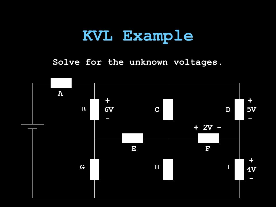 KVL Example Solve for the unknown voltages. A B GHI E CD F 6V + 2V - 5V 4V