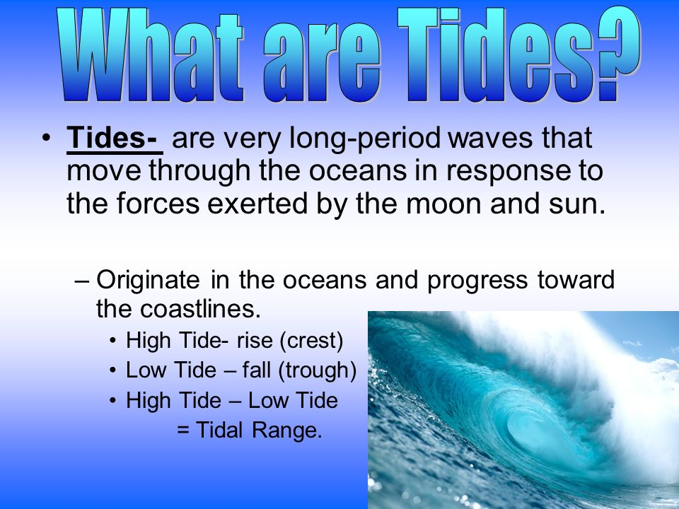 Tides- are very long-period waves that move through the oceans in response to the forces exerted by the moon and sun.