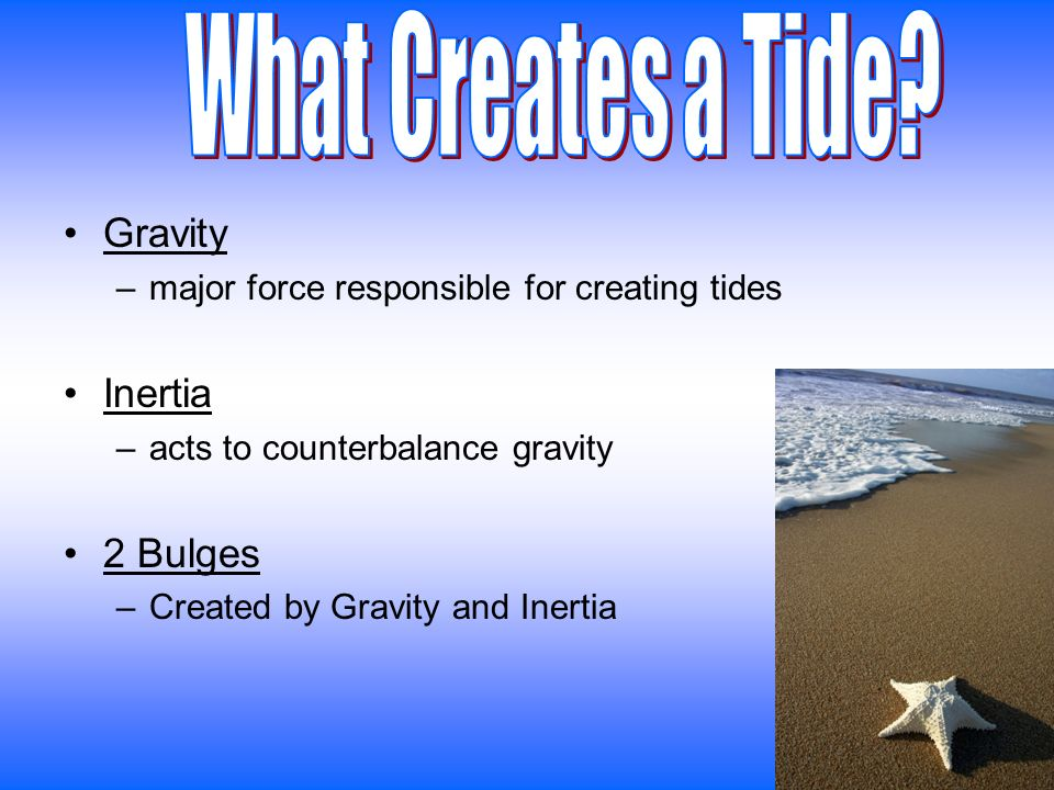 Gravity –major force responsible for creating tides Inertia –acts to counterbalance gravity 2 Bulges –Created by Gravity and Inertia