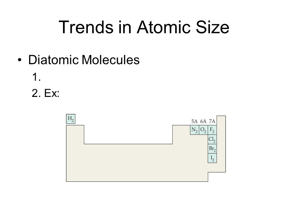 Periodic Table diatomic atoms in the periodic table : Chapter 6 Section 3: Periodic Trends. Trends in Atomic Size ...