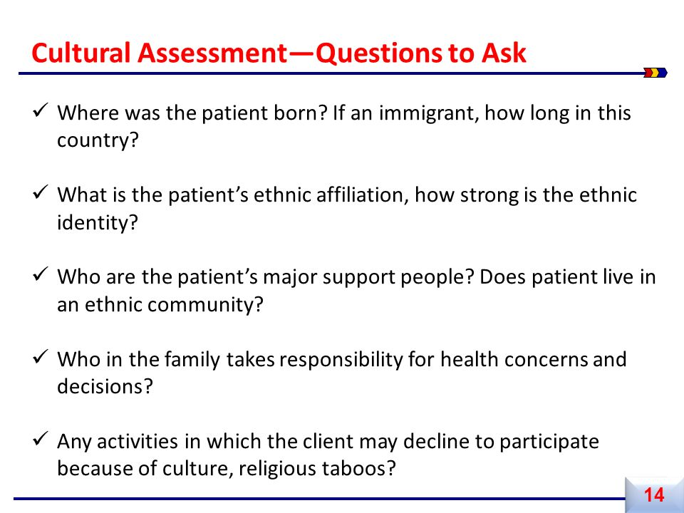 Where was the patient born? If an immigrant, how long in this country? What is the patient's ethnic affiliation, how strong is the ethnic identity? Wh