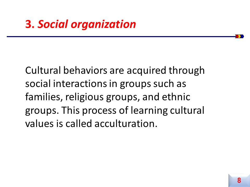 Cultural behaviors are acquired through social interactions in groups such as families, religious groups, and ethnic groups. This process of learning