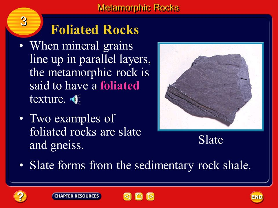 Chapter: Rocks Table of Contents Section 3: Metamorphic ...