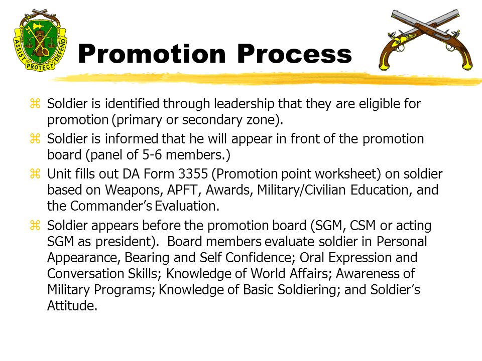 Corrections Company RCF Promotions System Safety Brief zExit to – Army Promotion Points Worksheet