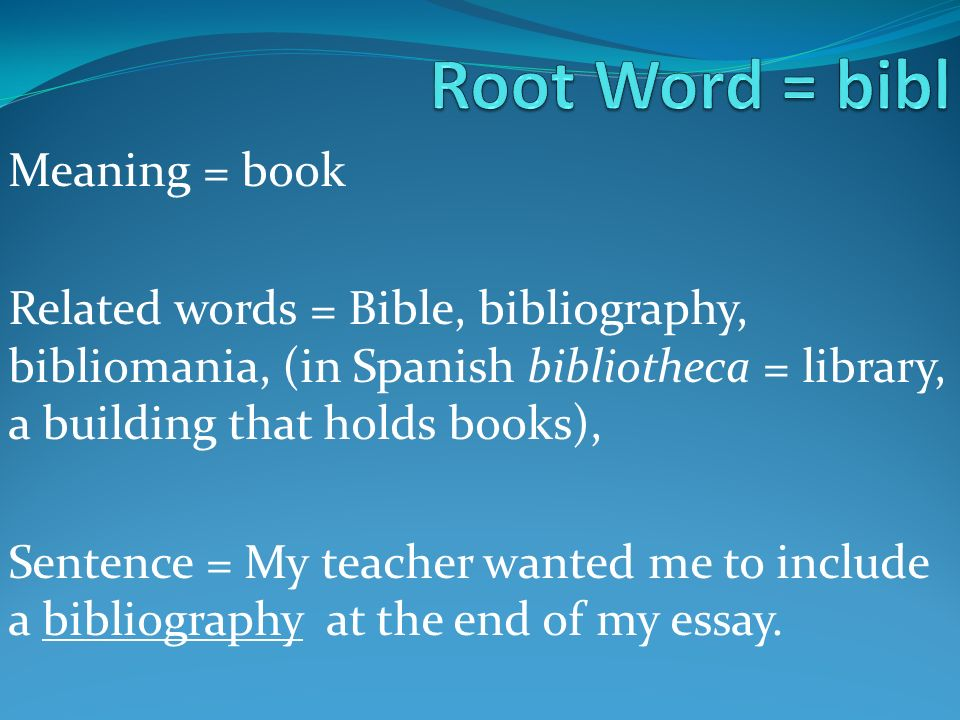 Use bibliography in a sentence