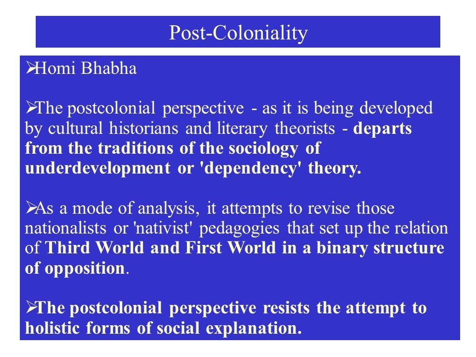 introduction to postcolonial theory by dr