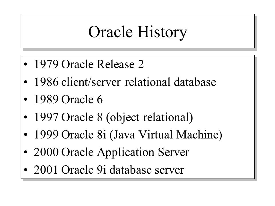 an introduction to the history of the oracle database