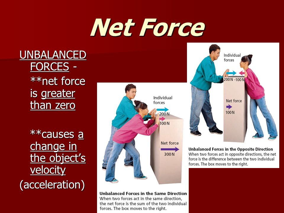 Net Force Net Force UNBALANCED FORCES - **net force is greater than zero **causes a change in the object's velocity **causes a change in the object's velocity(acceleration)