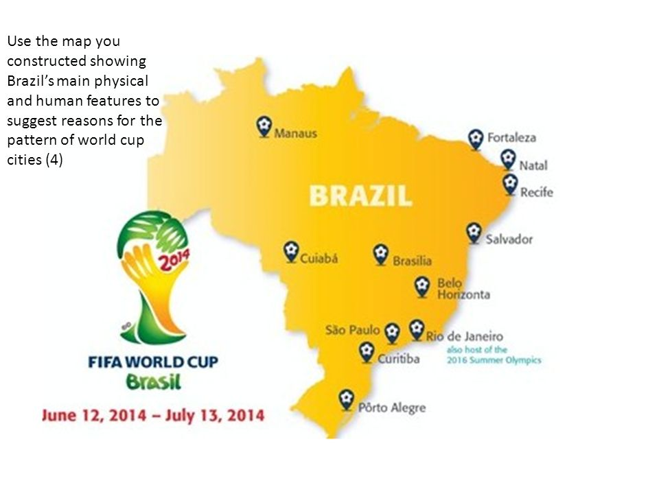 Task with the person sitting next to you think of as many links 8 use the map you constructed showing brazils main physical and human features to suggest reasons for the pattern of world cup cities 4 gumiabroncs Gallery