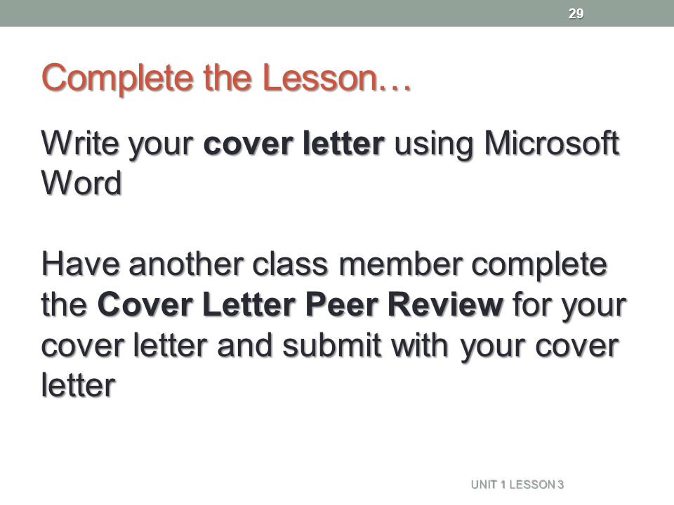 29 complete - Cover Letter Review