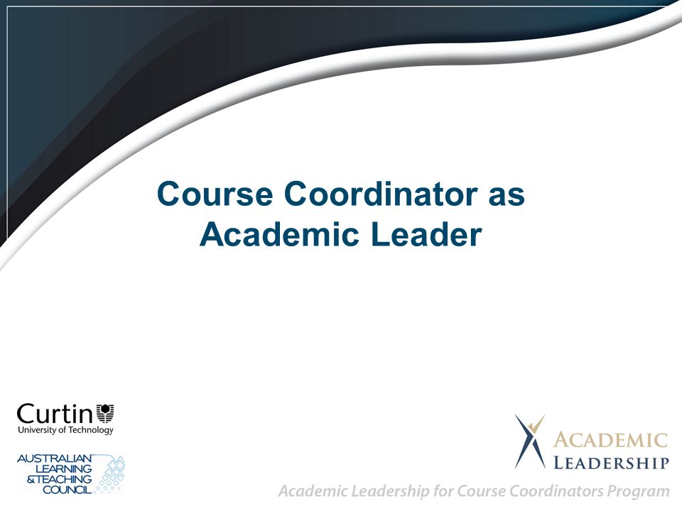 Course Coordinator as Academic Leader. The Team! - ppt download