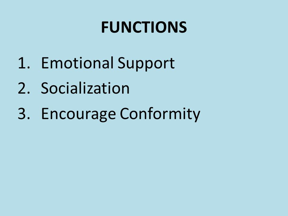 FUNCTIONS 1.Emotional Support 2.Socialization 3.Encourage Conformity