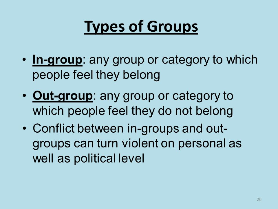 20 Types of Groups In-group: any group or category to which people feel they belong Out-group: any group or category to which people feel they do not belong Conflict between in-groups and out- groups can turn violent on personal as well as political level