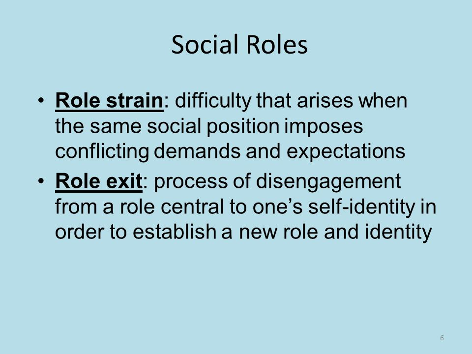 6 Social Roles Role strain: difficulty that arises when the same social position imposes conflicting demands and expectations Role exit: process of disengagement from a role central to one's self-identity in order to establish a new role and identity