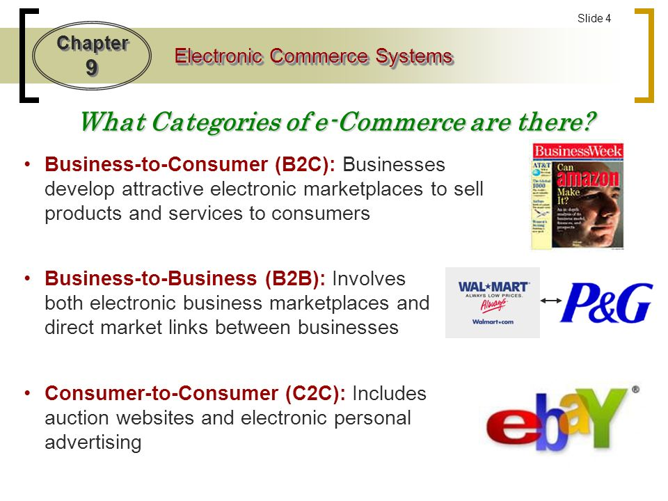 Chapter 9 Electronic Commerce Systems Slide 4 What Categories of e-Commerce are there.