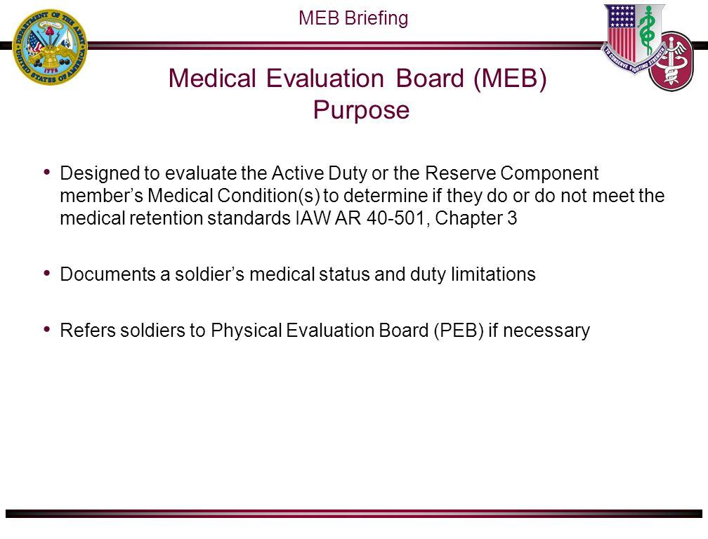 OTSGMEDCOM Medical Evaluation Board MEB Physical Evaluation – Medical Evaluation