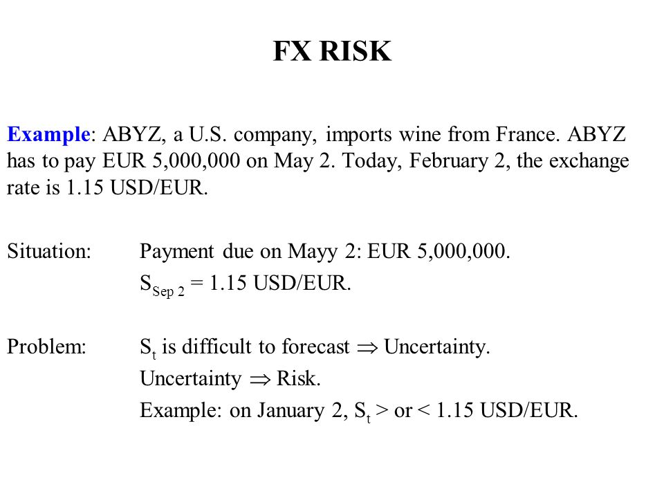FX RISK Example: ABYZ, a U.S. company, imports wine from France.