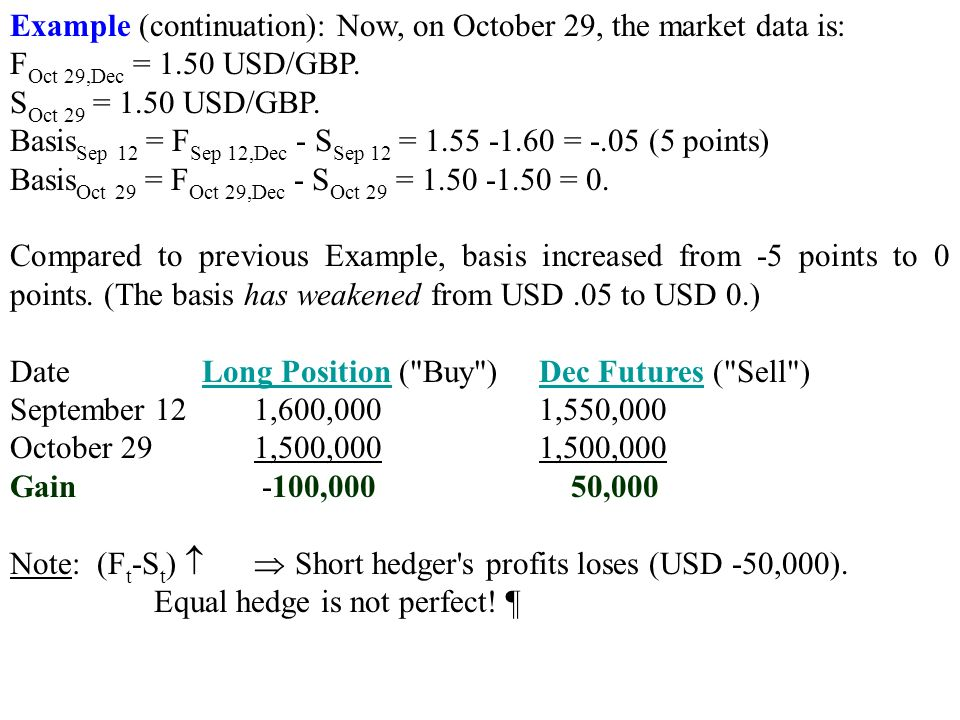 Example (continuation): Now, on October 29, the market data is: F Oct 29,Dec = 1.50 USD/GBP.