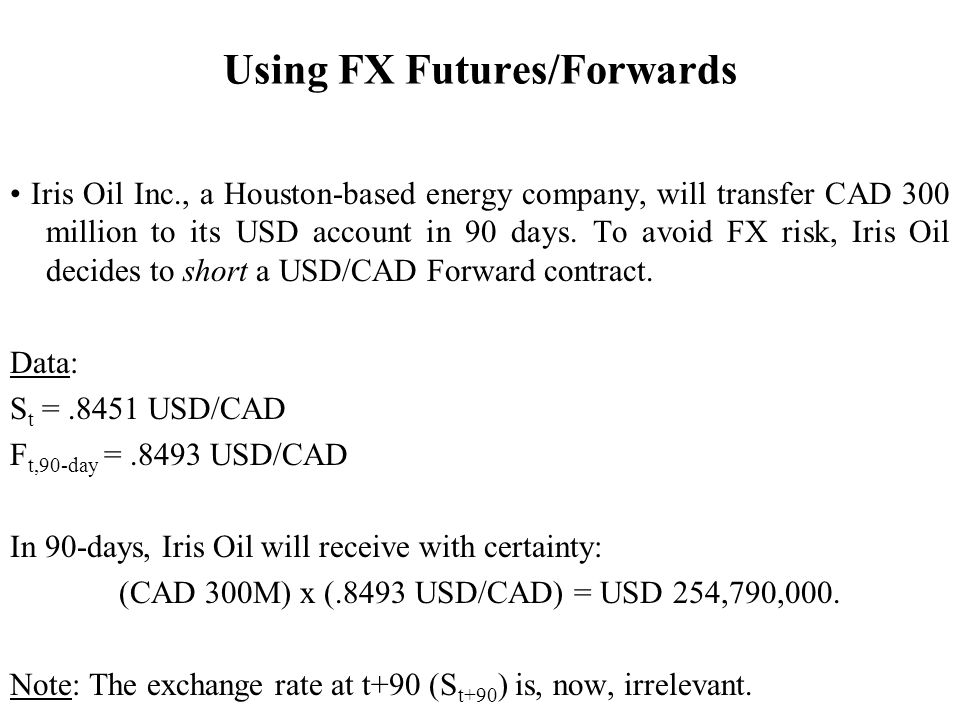 Using FX Futures/Forwards Iris Oil Inc., a Houston-based energy company, will transfer CAD 300 million to its USD account in 90 days.