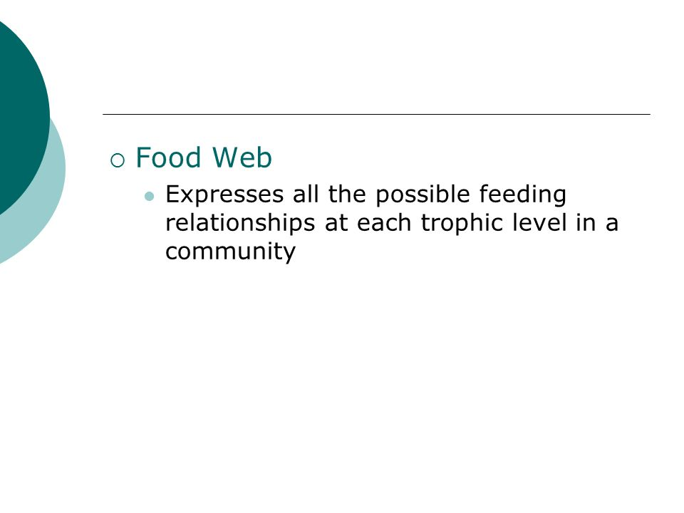  Food Web Expresses all the possible feeding relationships at each trophic level in a community