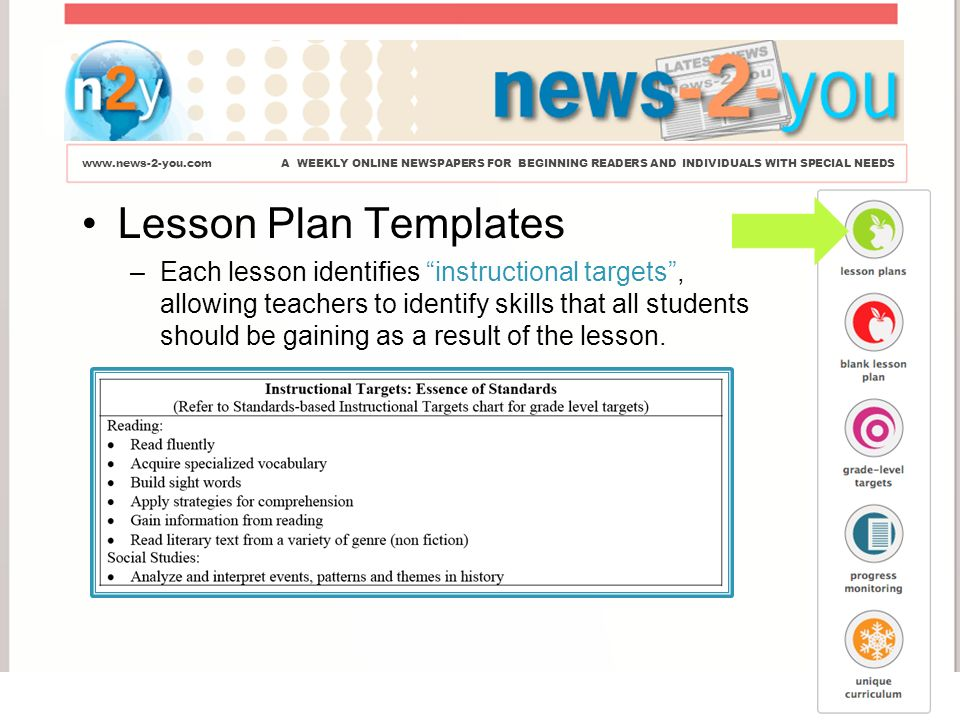 WEEKLY ONLINE NEWSPAPERS FOR BEGINNING READERS AND INDIVIDUALS - Lesson plan template for special needs students