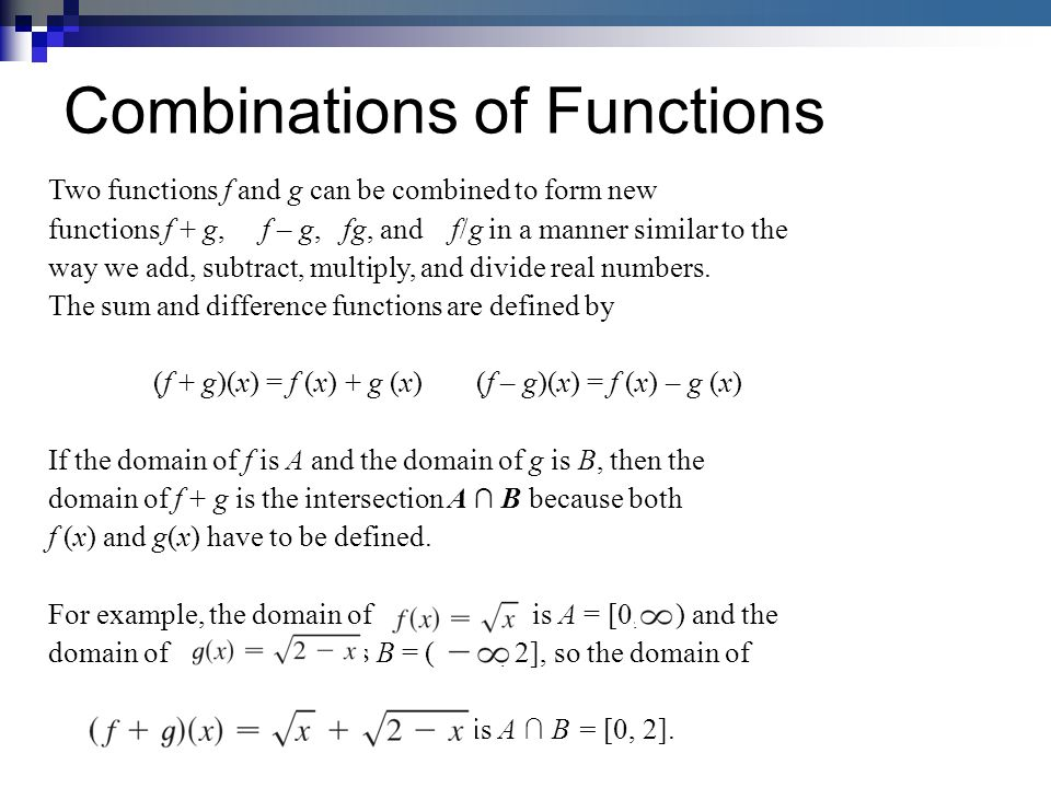 Two functions f and g can be combined to form new functions f + g, f – g, fg, and f/g in a manner similar to the way we add, subtract, multiply, and divide real numbers.