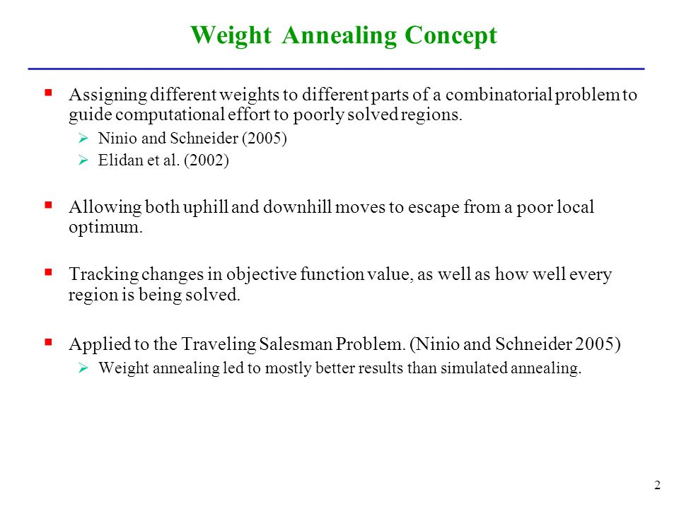 Weight Annealing Concept  Assigning different weights to different parts of a combinatorial problem to guide computational effort to poorly solved regions.