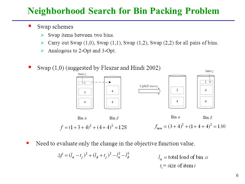 Neighborhood Search for Bin Packing Problem  Swap schemes  Swap items between two bins.