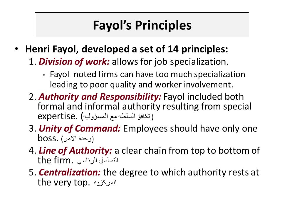 Fayol's Principles Henri Fayol, developed a set of 14 principles: 1.