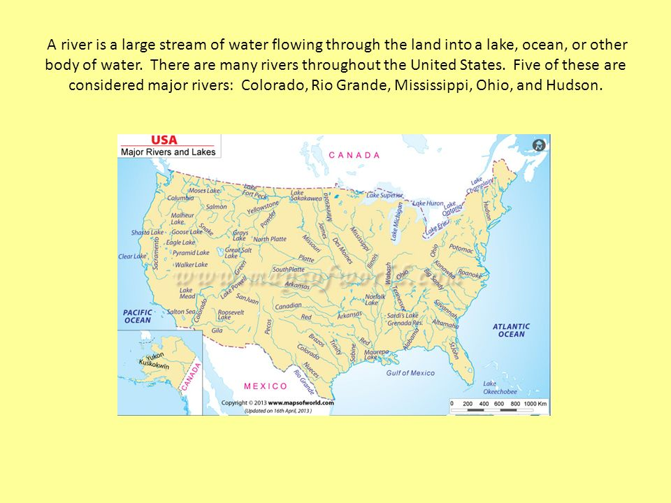Exploring US Rivers And Mountain Ranges A River Is A Large - Us map mountain ranges and rivers