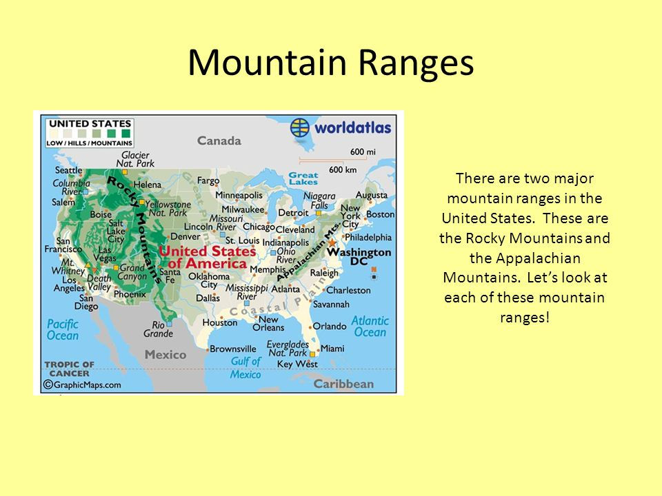 Exploring US Rivers And Mountain Ranges A River Is A Large - How many mountain ranges are in the united states